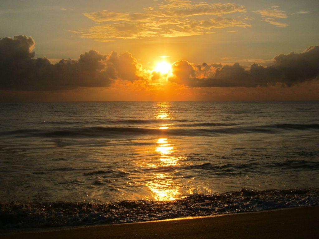 Sunset over beach at Batticaloa, Sri Lanka