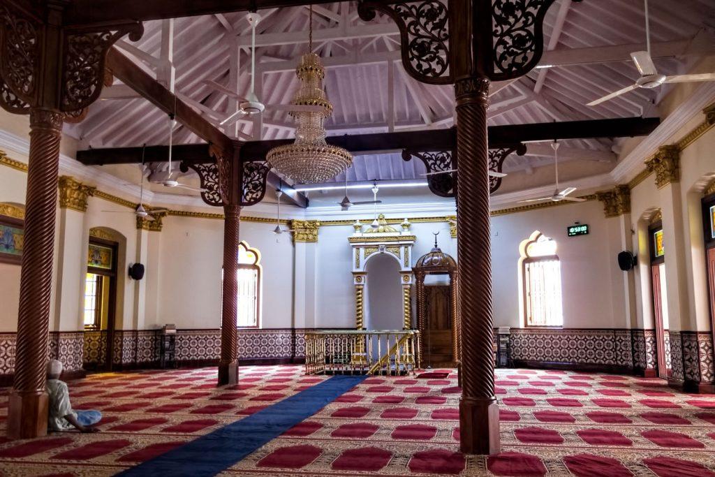 Interior of Jami ul-Alfar mosque in Colombo, Sri Lanka