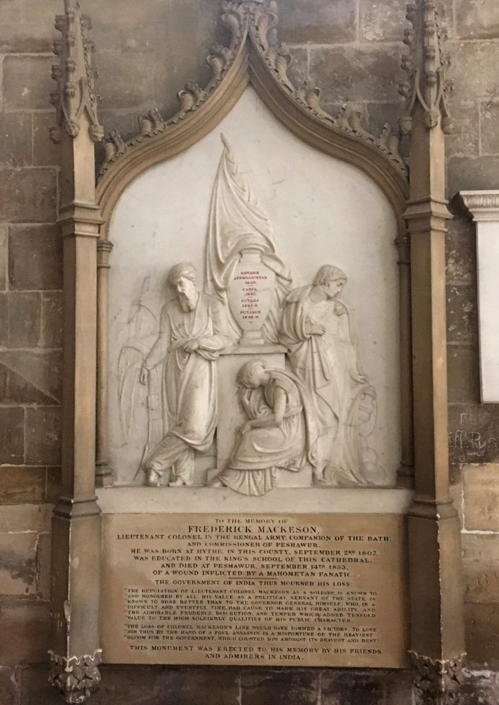 Colonial memorial in Canterbury Cathedral, recalling battles from Indian history