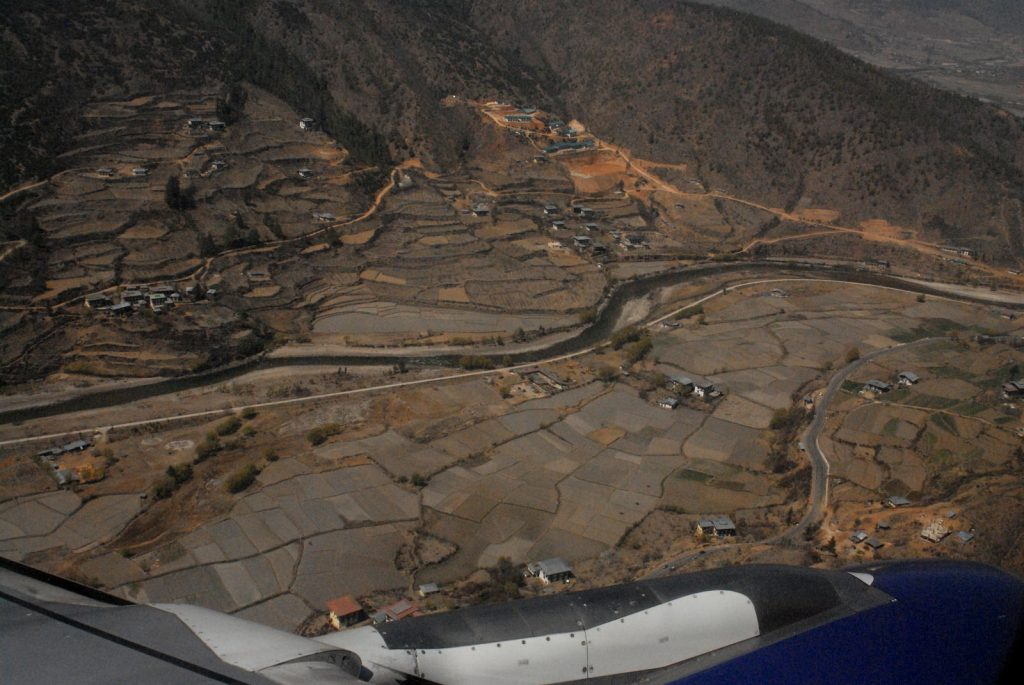 Close terrain flying into Paro