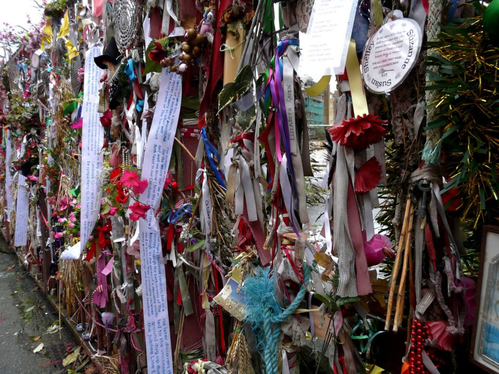 Memorial ribbons at Crossbones, one of the least known London cemeteries