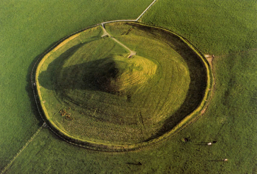The Maeshowe tumulus viewed from the air.