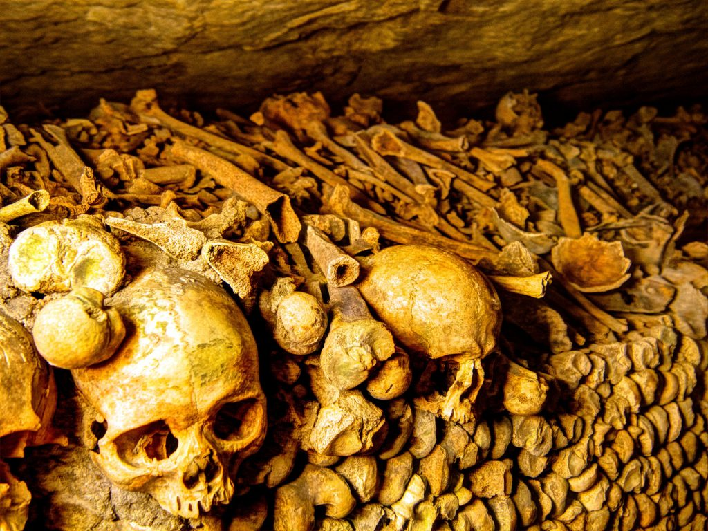 The Paris catacombs, one of the most crowded tombs in Europe